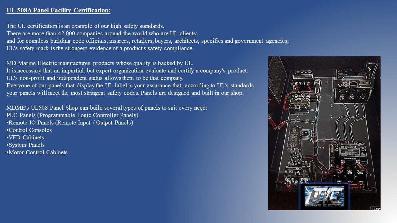 UL Panel Shop | MD Marine Electric